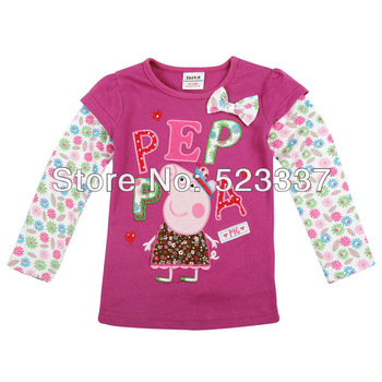 FREE SHIPPING F4103#Purple 5pcs/ lot18m/6y  tunic top peppa pig embroidery for girl long sleeve T-shirt