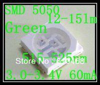 Free shipping SMD 5050 LED Green 3.0-3.4V 60mA 12-15lm 1K/REEL