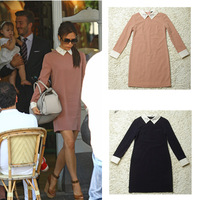 Free Shipping Autumn 2013 Retro Dresses Women Long Sleeve Casual Vintage Dresses Victoria Beckham Dresses
