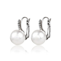 2014 fashionable design ear accessories for women fashion imitation pearl hoop earring with rhinestones  1-41