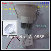 100x 11W 11-CREE 5050SMD LEDS New Downlight Led Light 990LM High Power Led Bulbs Energy Saving Led Lamp 85V-265V