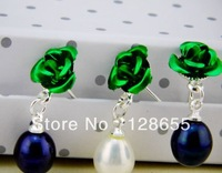 Natural freshwater pearl earrings roses  Free shipping