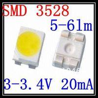 Free shipping SMD 3528 LED  White 3.0-3.4V 20mA 2K/Reel 5-6lm