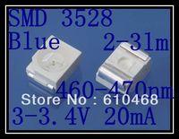 Free shipping SMD 3528 LED Blue 3.0-3.4V 20mA 2-3lm 2K/REEL