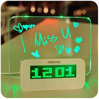 2014 time-limited new radio alarm clock free shipping home alarm clock quieten luminous multifunctional neon message board lazy