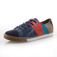 2013 fashion canvas shoes men color block decoration casual male shoes single shoes