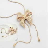 Min Order $ 10 Mix Order Korean style fashion exquisite noble crystal bow alloy necklace  silver and gold Free Shipping