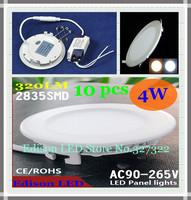 FedEX Free shipping 10 pcs round LED Panel Light 4W AC 85-265V 105mm 320LM smd 2835 lamp bulb led ceiling light warm /cool white