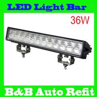 Freeship,14.5'' waterproof ip67 6000k 2700ml flood beam pattern 10-30V led  light bar 36W led work bar for trucks vehicles SUV