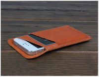 russian market popular hot sale 100% handmade leather case for iphone 5 with card slot money pocket in free shipping retail