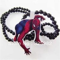 5Pcs/Lot Spiderman Pendant Good Wood Hip-Hop Wooden Fashion Dancer Necklace