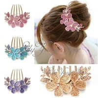 Free Shipping 1pc Crystal Women Lily Flower Rhinestone Hair Pin Clips Barrette Comb Hairpin Bridal
