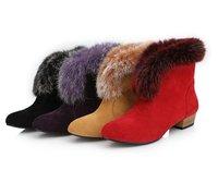 2013 winter fur snow boots female shoes wedges platform boots short shoes dress wram party ankle boots AB240