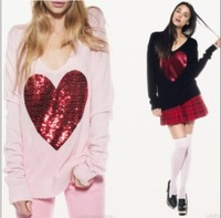 EAST KNITTING BB-031 2013 WOMEN FASHION TOPS WILD FOX SWEATER,SEQUINS,RED HEART,KNITTING ,LOOSE T SHIRT ,FREE SHIPPING