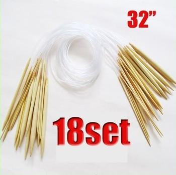 "18 Pairs 32""80cm Circular Smooth Bamboo Knitting Needles Sets 2.0mm-10mm Size  000172"