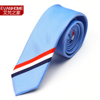 male fashion casual irregular navy blue red and white blue stripe Tie Ties