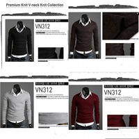 Fashion Mens 2013 Winter Sweaters Long Sleeve Slim Casual V Neck Bottoming Cardigan Sweater Tops Jumpers Plus Size XXL 652414