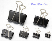 100pcs/opp  15mm Black Metal Documents Binder Clips/Memo Clip , Free shipping!