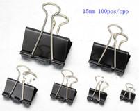 100pcs/opp  15mm Black Metal Documents Binder Clips/Memo Clip , Free shipping!