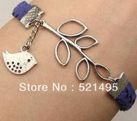 Handmade leather bracelet bird transverse alloy blade Bracelet