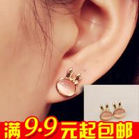 20pairs/lot E2156 moonstone rabbit stud earring female - 5g eye