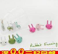 20pairs/lot E2088 queer accessories multicolour paint rabbit stud earring multicolor