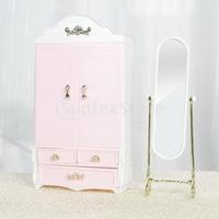 Free Shipping Dollhouse Miniature Furniture Wardrobe Mirror Set