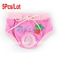 5Pcs/Lot Lovely Cute Female Dog Pet Pants Underwear Diaper Physiological Clothes S/M/L/XL 16691