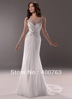 Distinctive High Neck Beaded Top Chiffon Sweep Train Vintage Wedding Dresses 2014