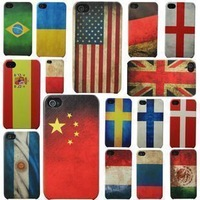 DHL Free Shipping 100pcs/lot Wholesale Retro Vintage National Flag Frosted Case With Hard Back Cover For Apple iPhone 4 4S 4G