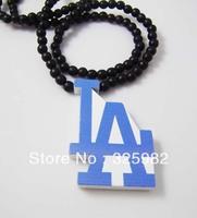 5Pcs/Lot Basketball LA Pendant Good Wood Hip-Hop Wooden Fashion Dancer Color Necklace