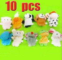 Free shipping baby plush toy 10pcs cartoon animal Finger Hand Puppets Animal Shaped Set  toys for baby finger toy