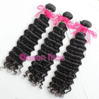 1KG Virgin brazilian hair human hair extensions deep curl weft 10pcs/lot free ship off black free shipping 100% cuticle