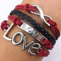 hot sell fashion vintsge silver turquoise infinity love bracelet  korea velvet rope bracelet
