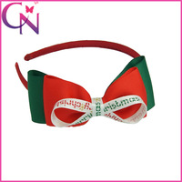 new arrival 20 piece/lot high quality handmade printed satin ribbon with solid grosgrain ribbon christmas style hair band