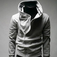 Free shipping Sell Like Hot Cakes Exempt Postage Inclined Zipper Sweater Gray Hoodies For Men1009