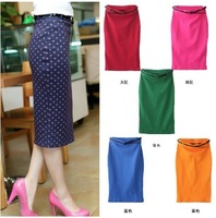 EW HOT! CANDY COLOR STRETCH SLIM FIT SKIRT WITH BELT Polka Dot 1229 #