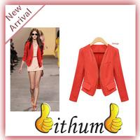Trendy women long sleeve Suit Zipper Style V-neck Cotton Blend Slim Short Summer Autumn Suit Jacket Coat for Women blazer