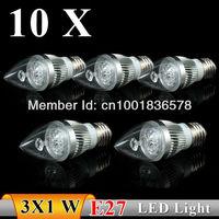 10PCS / lot E27 3w AC85-265V High power white / warm white LED Bulb Light Candle Light Energy saving Free Shipping
