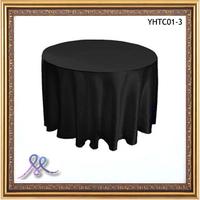 High Quality Black Satin Round Tablecloth
