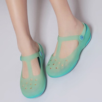 Hole shoes female shoes heterochrosis jelly sandals beach slippers flat thick summer mules