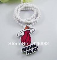 Wholesale 5Pcs/Lot  Miami Heat Pendant Good Wood Wooden Fashion Dancer Color Hip-Hop Necklace