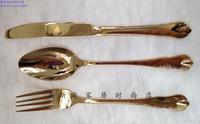 Gold Color Knife Fork Spoon 3 Pieces Set Luxury Dinnerware Stainless Steel Beefsteak Knift Set