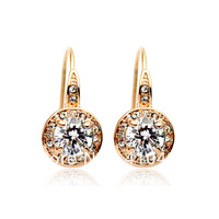 free shipping,Gold Plated Earrings Nickel Free Rhinestone Austrian SW Element CrystalL86100
