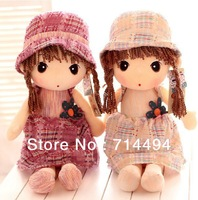 60cm hot selling Cute cartoon hat and rural girl stuffed doll children gift baby birthday gift girl gift free shipping