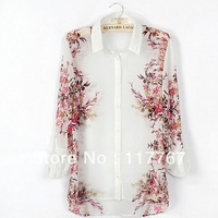 Fashion 2013 Women's White Printed Chiffon Blouses Long Sleeve Tops Summer Ladies' Vintage Shirts S/M/L Free Shipping 1PC 652486