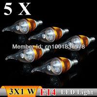 5PCS/lot E14 3w AC85-265V Strong power white / warm white LED Bulb Light Candle Light Free Shipping