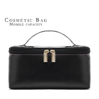 Classic Black Big Capacity PU Shiny Cosmetic Makeup Bag Case Portable Storage Bag Japanned Leather bag 105g