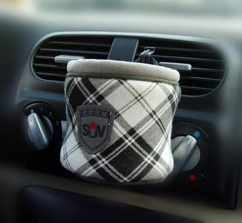 'll suv car outlet bucket glove cell phone pocket bag glove white mug bucket