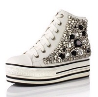 2013 high-top shoes rhinestone beaded paillette elevator women's platform shoes casual canvas shoes